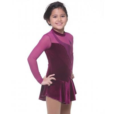 Laser-cut velvet mesh long sleeve figure skating dress with rhinestones
