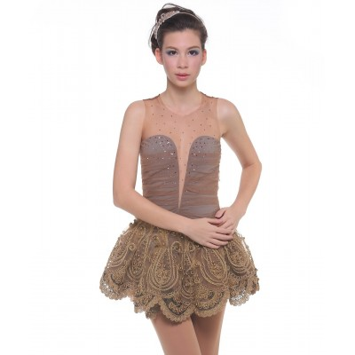 Glamour goddess vintage inspired lace figure skating dress - Swarovski - Light Brown