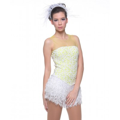 Fairy princess art-deco laser-cut bodice figure skating dress - Swarovski - Flu Yellow