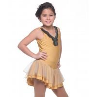 Ethnic-inspired V-neck sleeveless figure skating dress with rhinestones