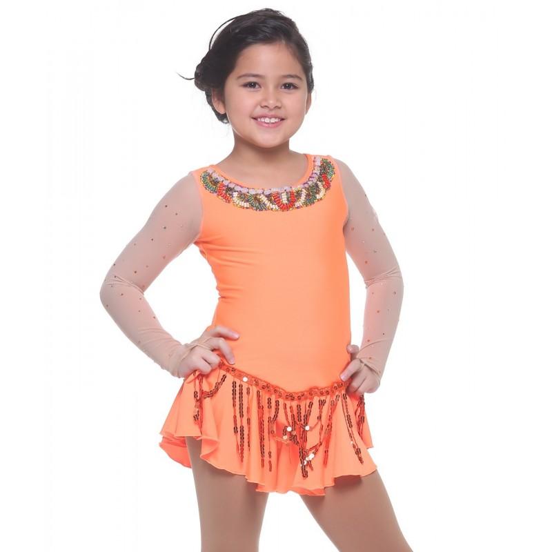 Ethnic-inspired scoop neck mesh long sleeve figure skating dress