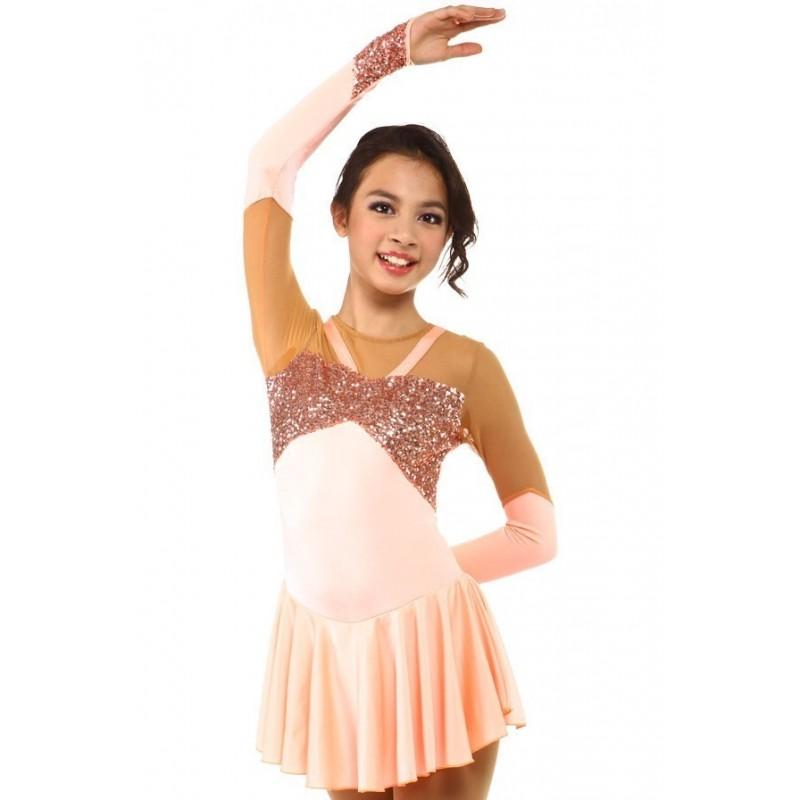Figure skating dress - pink - gloves - sequins - rhinestone - long-sleeves