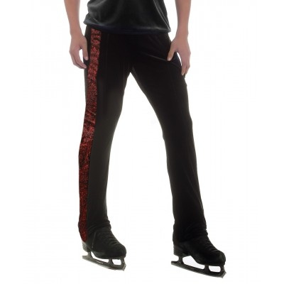 Black long pants with striking red swirl side taping - figure skating