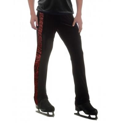 Black long pants with striking red swirl side taping - figure skating - Black