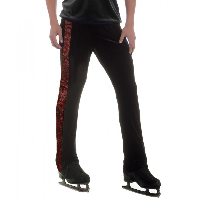 Black long pants with striking red swirl side taping - figure skating