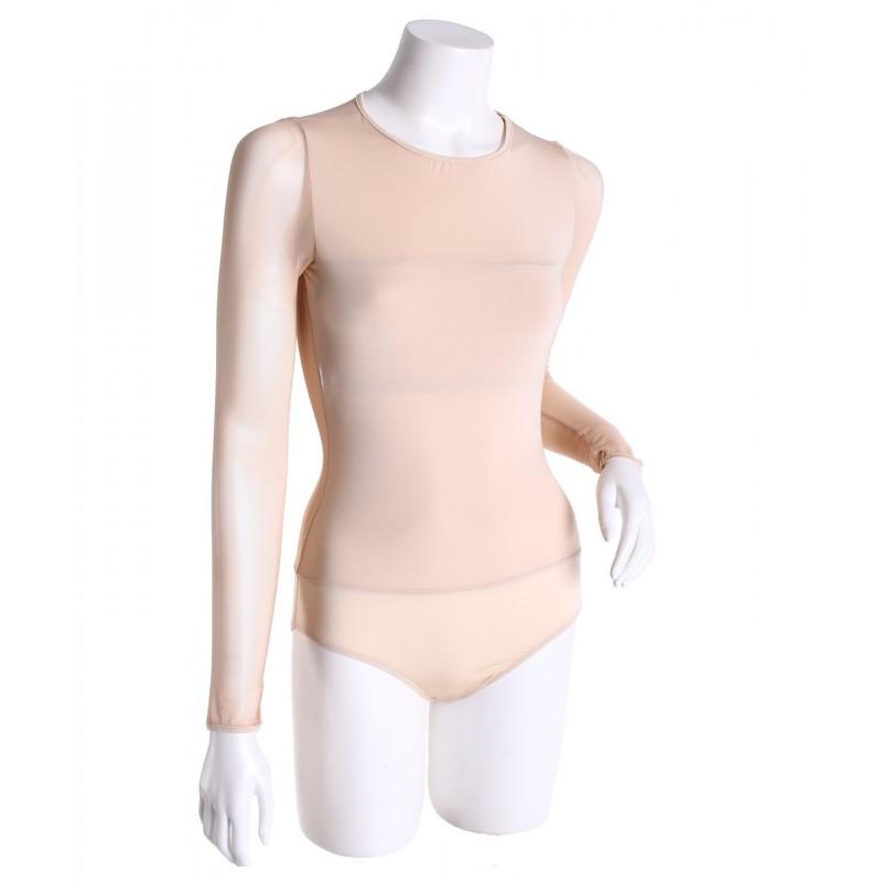 Round-neck long sleeve body liner leotard - Nude