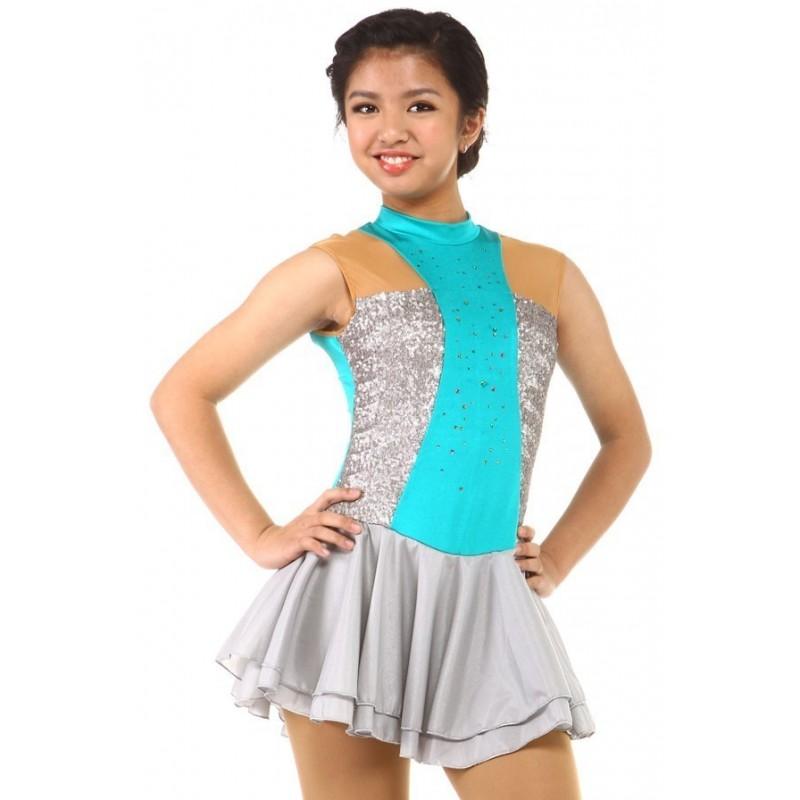 Figure skating dress - blue - sleeveless - rhinestone - sequins