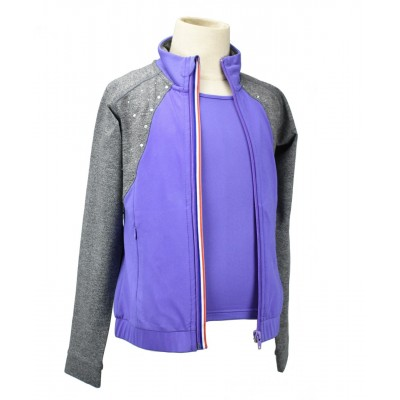 Regal queen zip through jacket with pockets and rhinestones - French inspiration