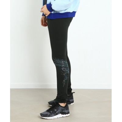 Voyage micro-fleece skating pants with silver blue swirling rhinestone pattern