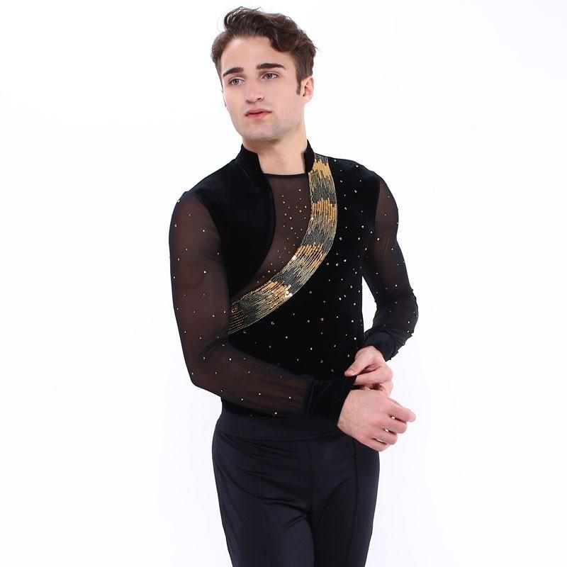 花样滑冰上衣,连身衣,黑色,银色,长袖,领子,亮片