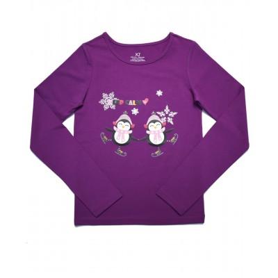 小童长袖T恤, 图案 E - 紫色