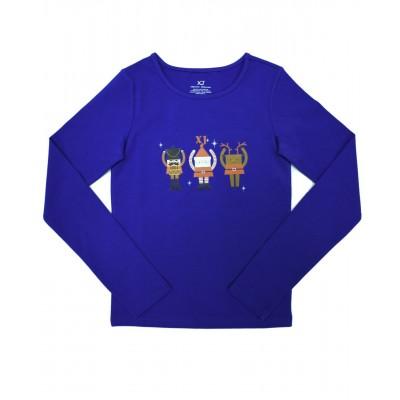 Daily Skating Tee, Pattern F, Long Sleeves - Blue