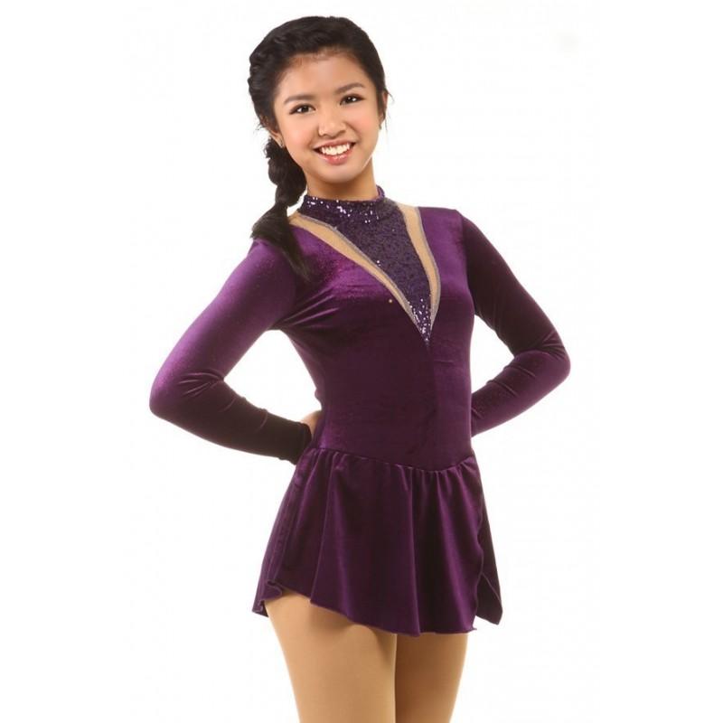 花样滑冰裙服,紫色,长袖,亮片