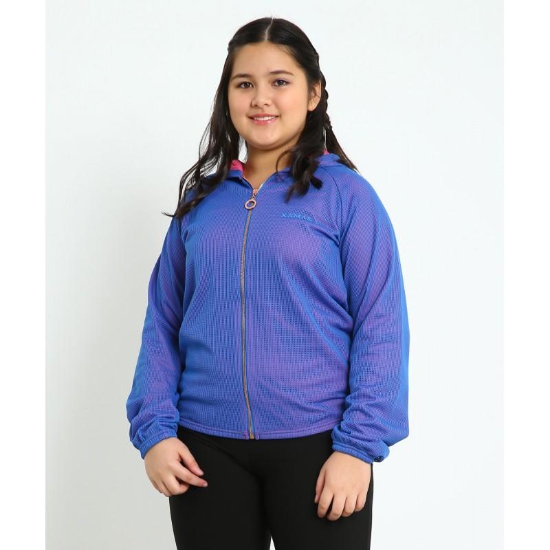 Jacket with hood - blue mesh over shocking pink