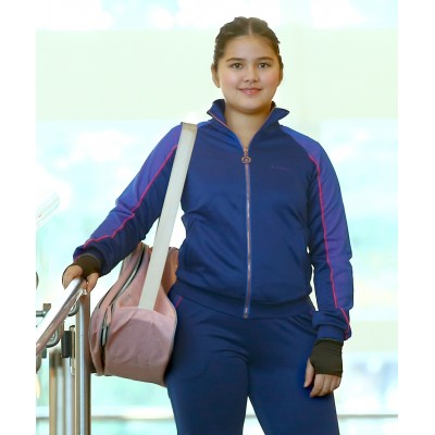 Zip through retro training jacket with mesh taping - Blue