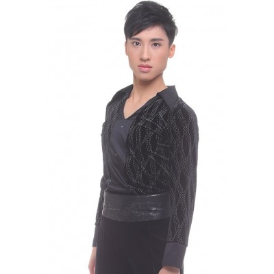 Figure skating top - black - long sleeves - collar - rhinestones - Black
