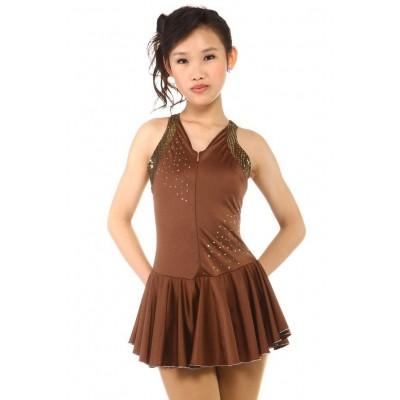 花样滑冰裙,棕色,水钻,无袖 - 啡色