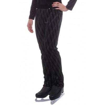 Figure skating pants - black - silver - long - velvet - Black