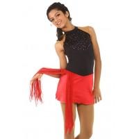 Figure skating dress - red - sleeveless - diamante 6