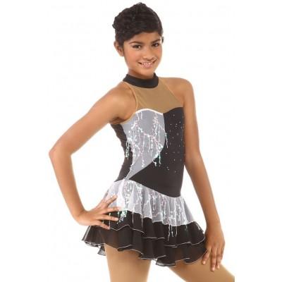 花样滑冰裙,黑色,白色,露背领,亮片,水钻 - 白色