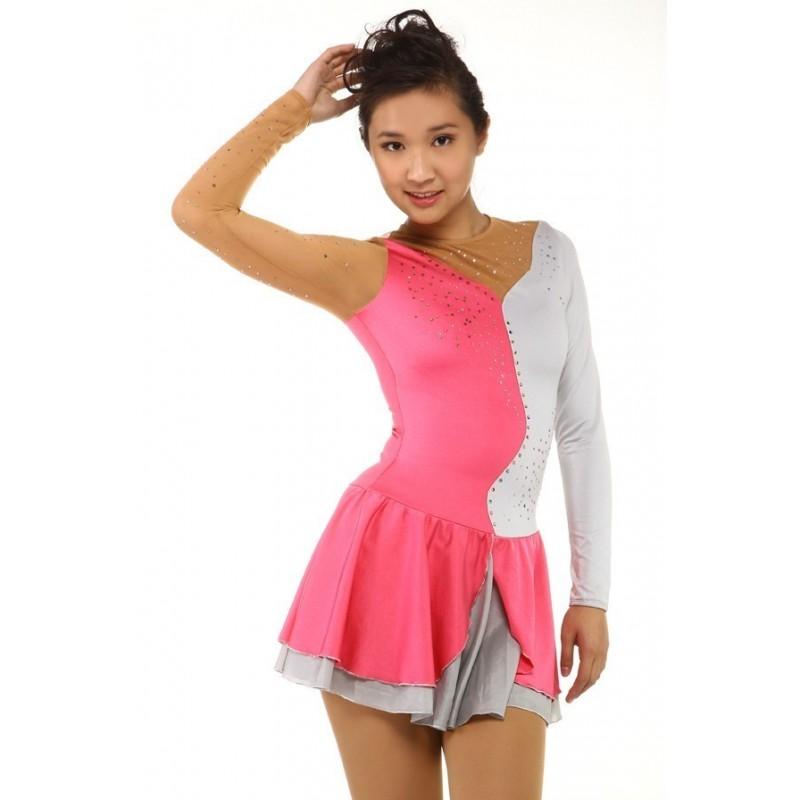 Figure skating dress - pink - silver - diamante - long sleeves