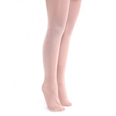 Glitter tights with silver snowflake swirls rhinestone pattern - cover the boots