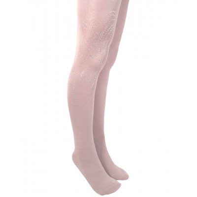 Glitter tights with silver swirling sparkles rhinestone pattern - cover the boots
