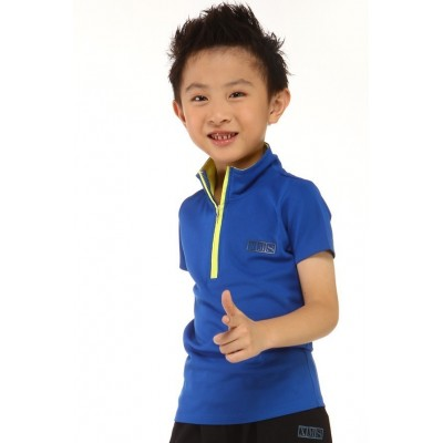 Sports T-Shirt - navy blue - zipped turtle-neck collar - short sleeves