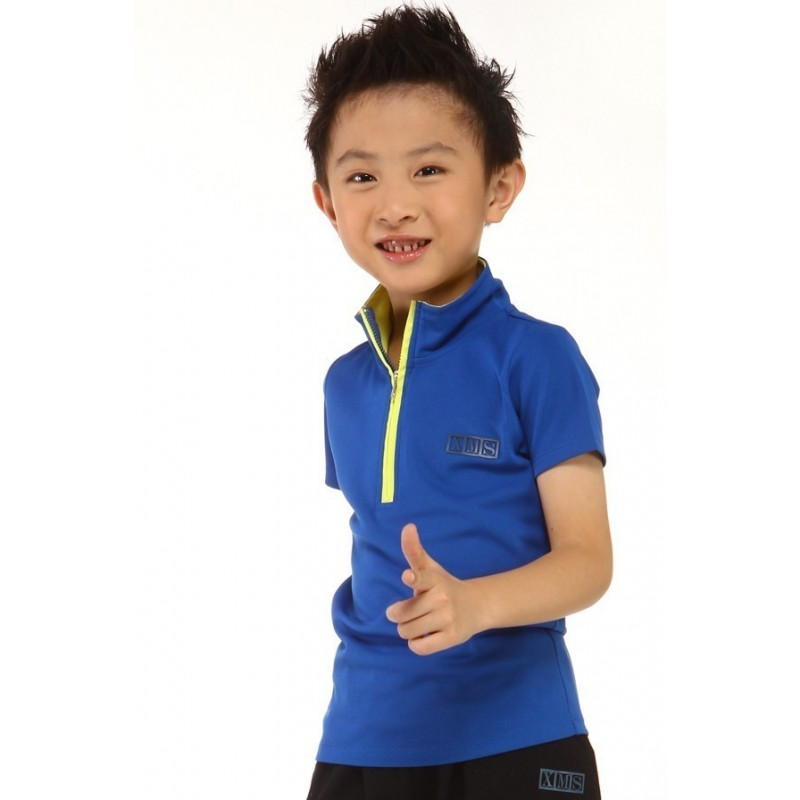 Sports T-Shirt - navy blue - zipped turtle-neck collar - short sleeves