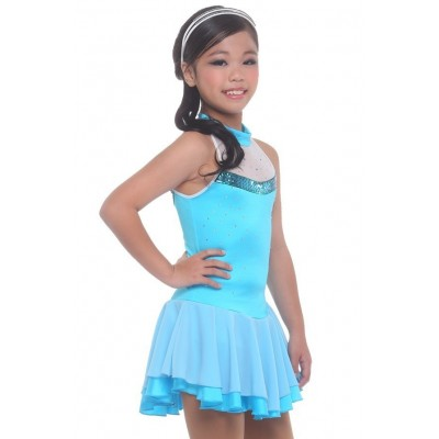 Figure skating dress - blue - sleeveless - sequins 2