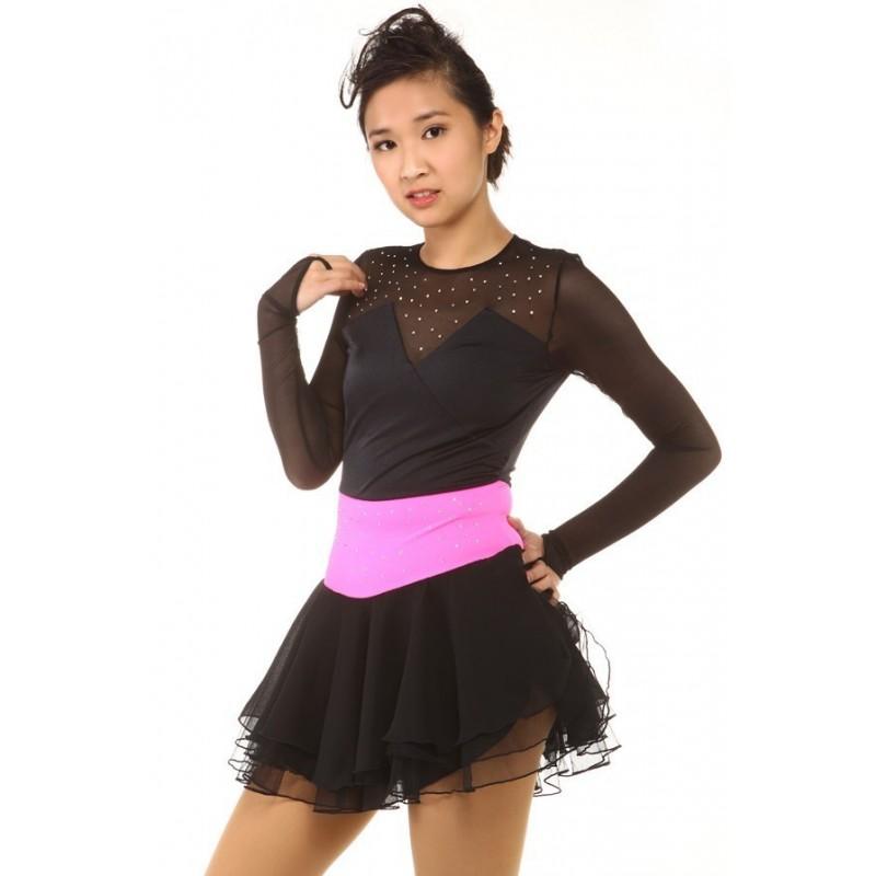 Figure skating dress - black - long-sleeves - diamante 3