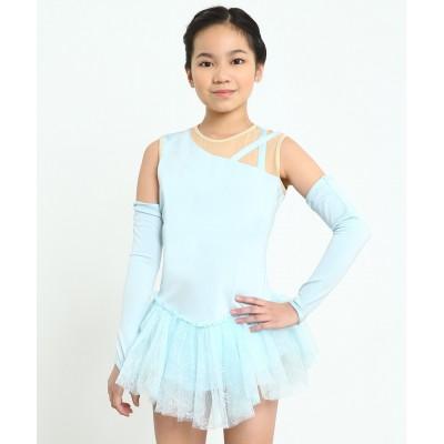 Ice princess jewel neck figure skating dress with gloves