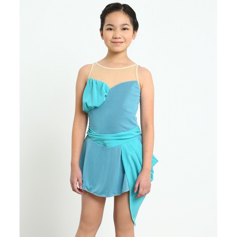 Song of the wind sleeveless figure skating dress with rhinestones