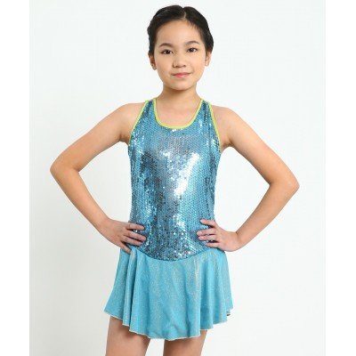 Mamma Mia sleeveless scoop neck figure skating dress with sequins