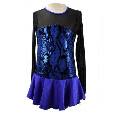 Electrifying long sleeve cobalt blue figure skating dress with sequins