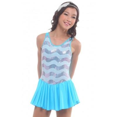 花样滑冰裙,蓝色,无袖,亮片