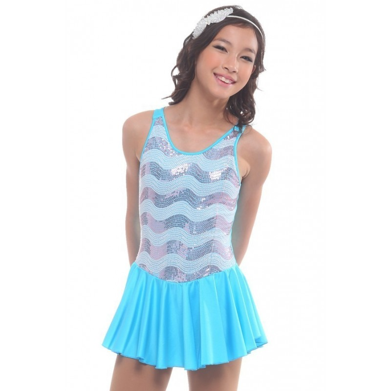 Figure skating dress - blue - sleeveless - sequins 1