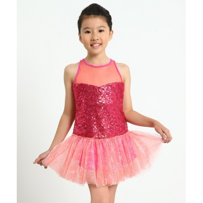 Glittering candy princess sleeveless figure skating dress