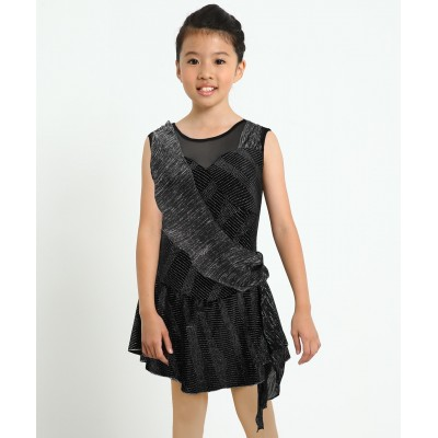 Trailing stars night sleeveless figure skating dress with sash