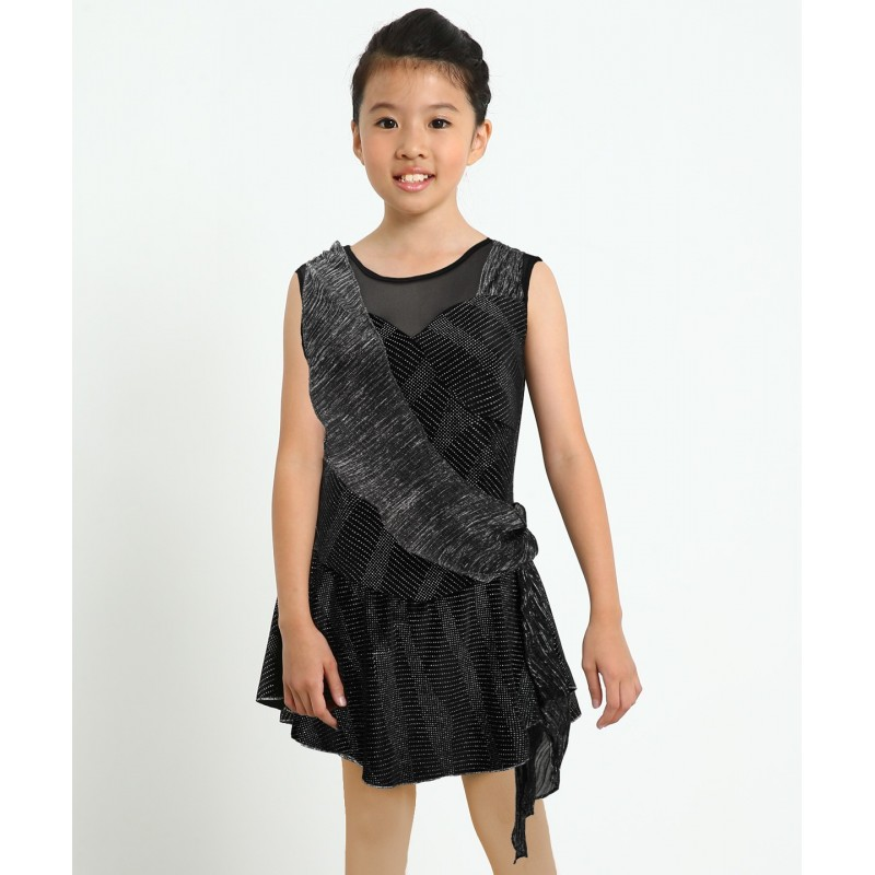 Trailing stars night sleeveless figure skating dress with sash