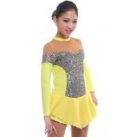 Figure skating dress - yellow - long-sleeves - sequins