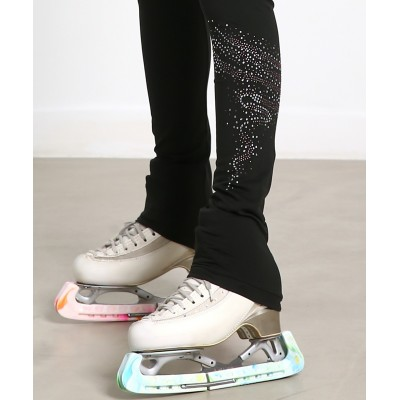Journey micro-fleece skating pants with silver bronze swirling rhinestone pattern