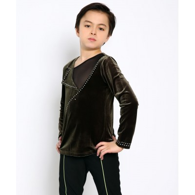 Asymmetric cut dramatic collar velvet figure skating long sleeve top with rhinestones - Dark Green
