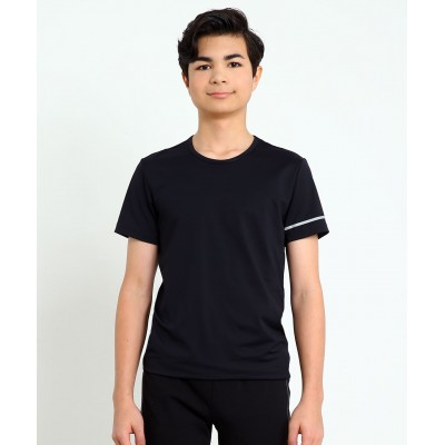 Athletic round-neck form-fitting short-sleeve T-shirt