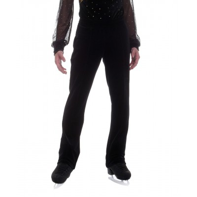 Velvet black long pants - figure skating - Black