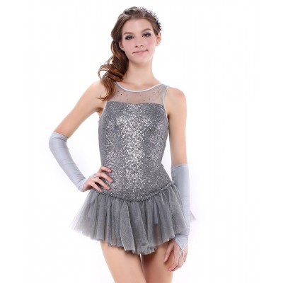 Sparkling fairytale princess figure skating dress with sequin bodice and gloves