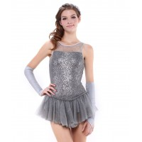 Sparkling fairytale princess figure skating dress with gloves