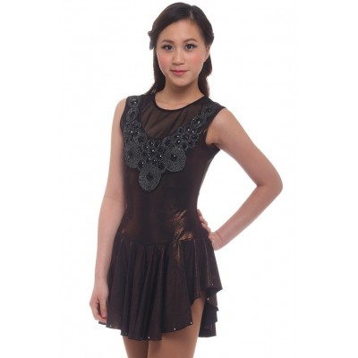花样滑冰裙,棕色,无袖 - 啡色