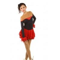花样滑冰裙,红色,长袖,水钻