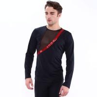 Figure skating top - black - long sleeves - rhinestones - sequins